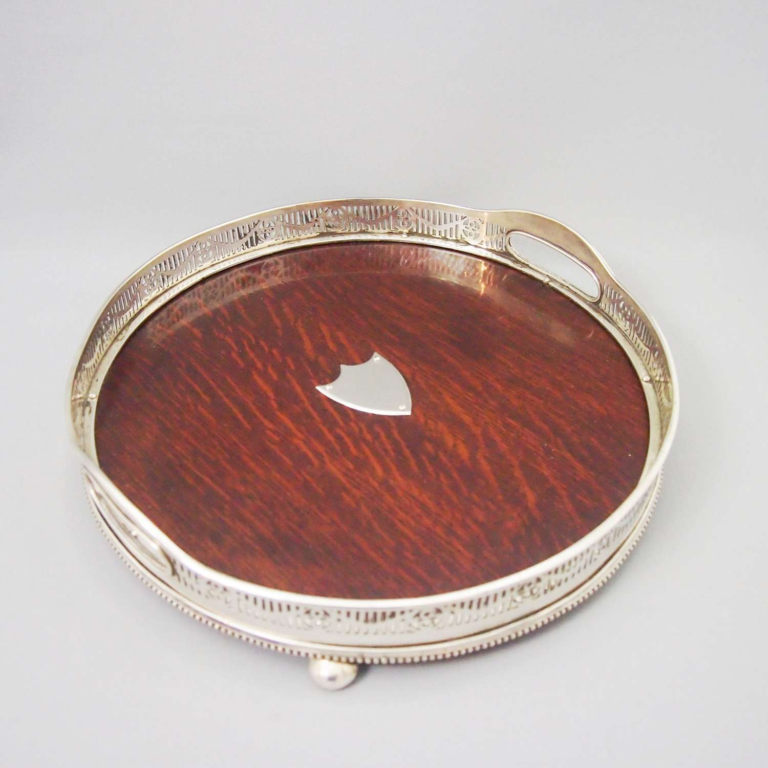 Circular Oak Tray with Silver Plated Gallery C1900.W8483