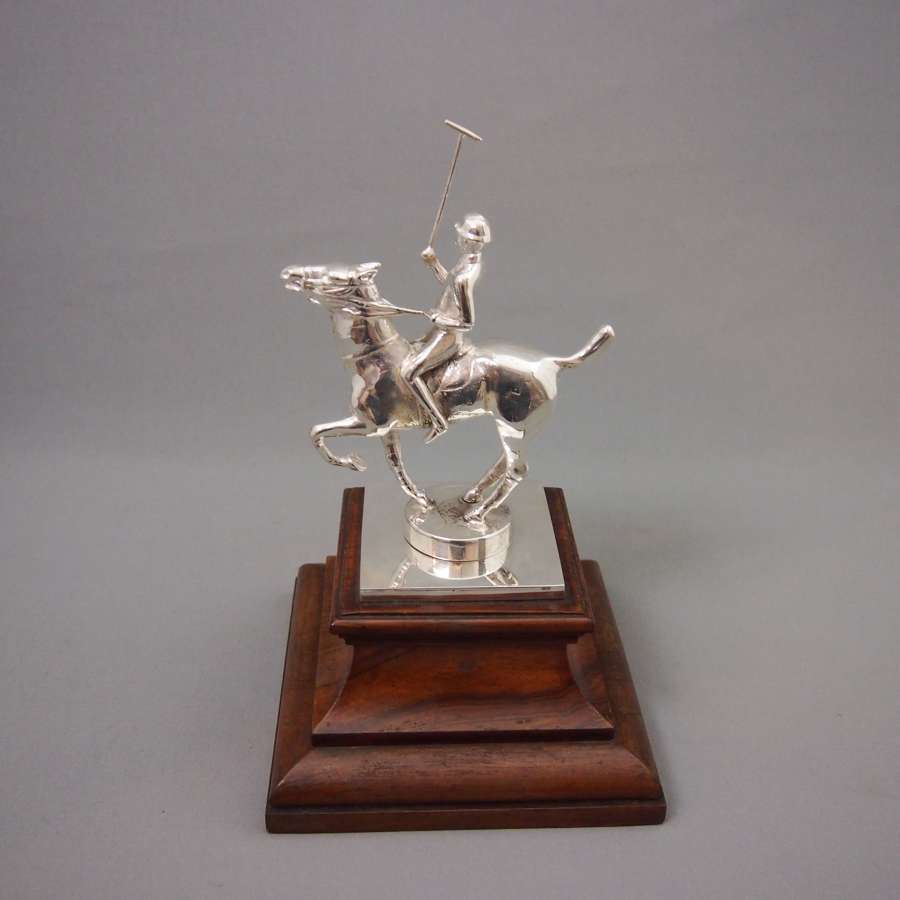 Plated Polo Player Figure on Wooden Stand. W8485