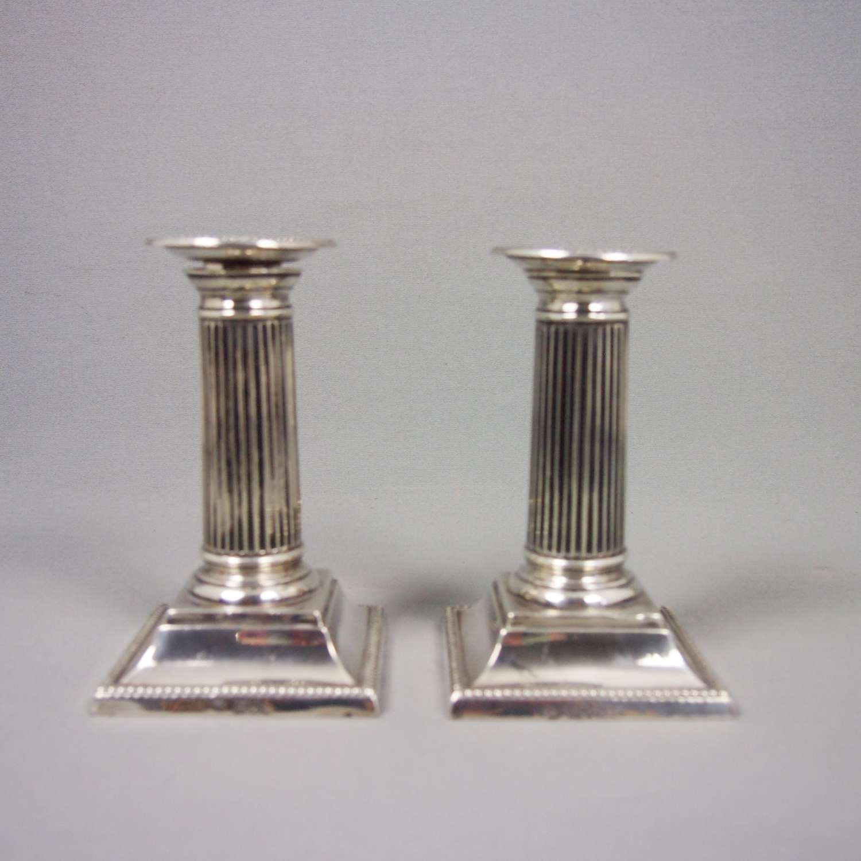 Silver Doric Column candlesticks Hallmarked1899. W8489