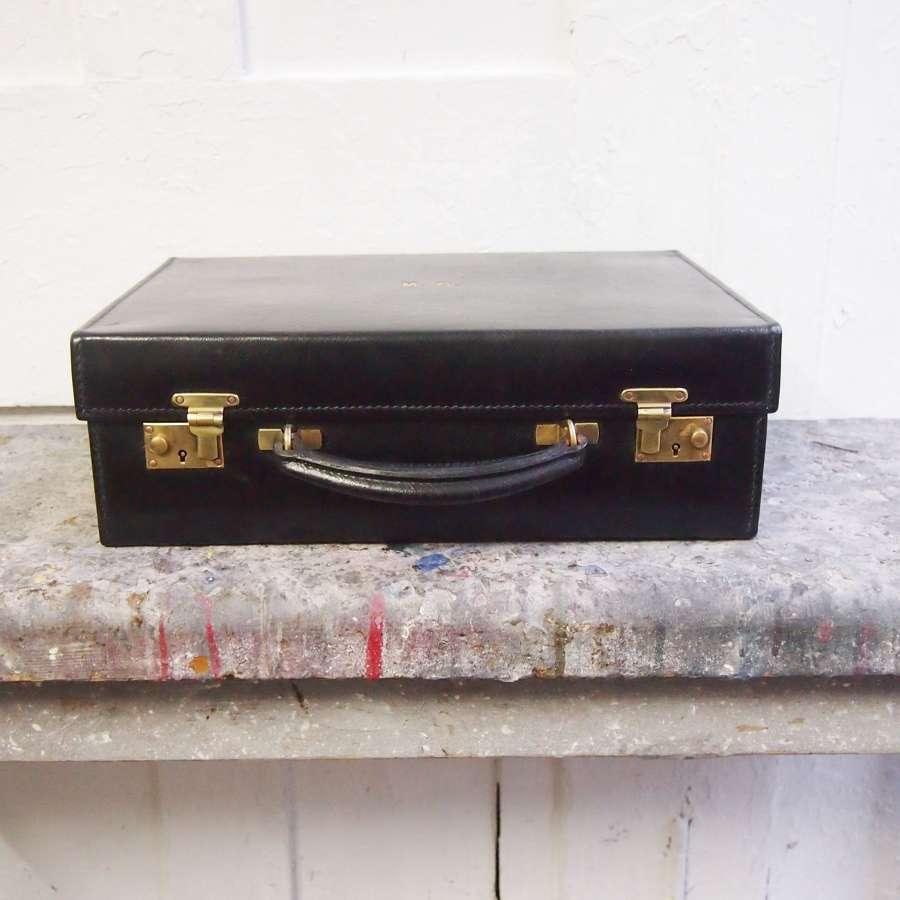 Vintage black hide Asprey briefcase. W8511