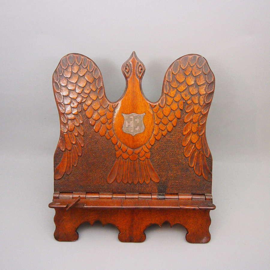 Antique oak carved book rest. W8520