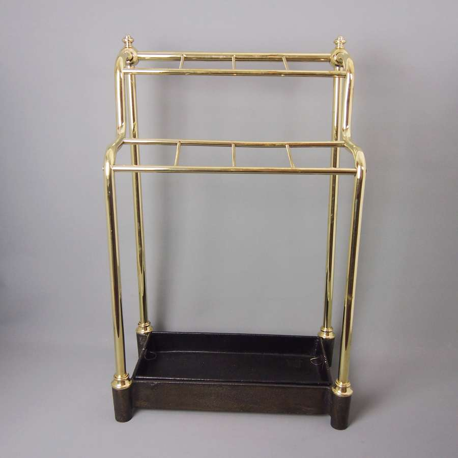 Vintage brass and cast iron umbrella stand. W8521