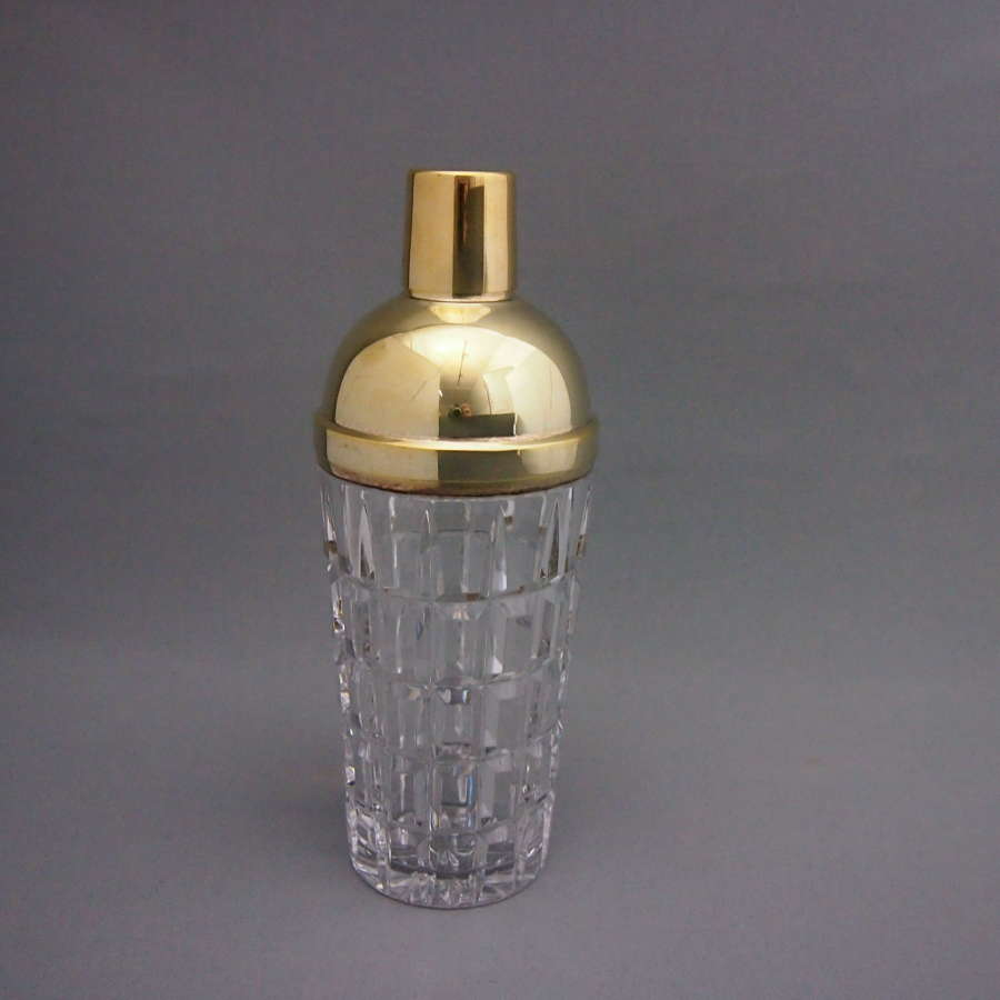 Silver Gilt Heavy Cut Glass  Vintage Cocktail Shaker. W8526