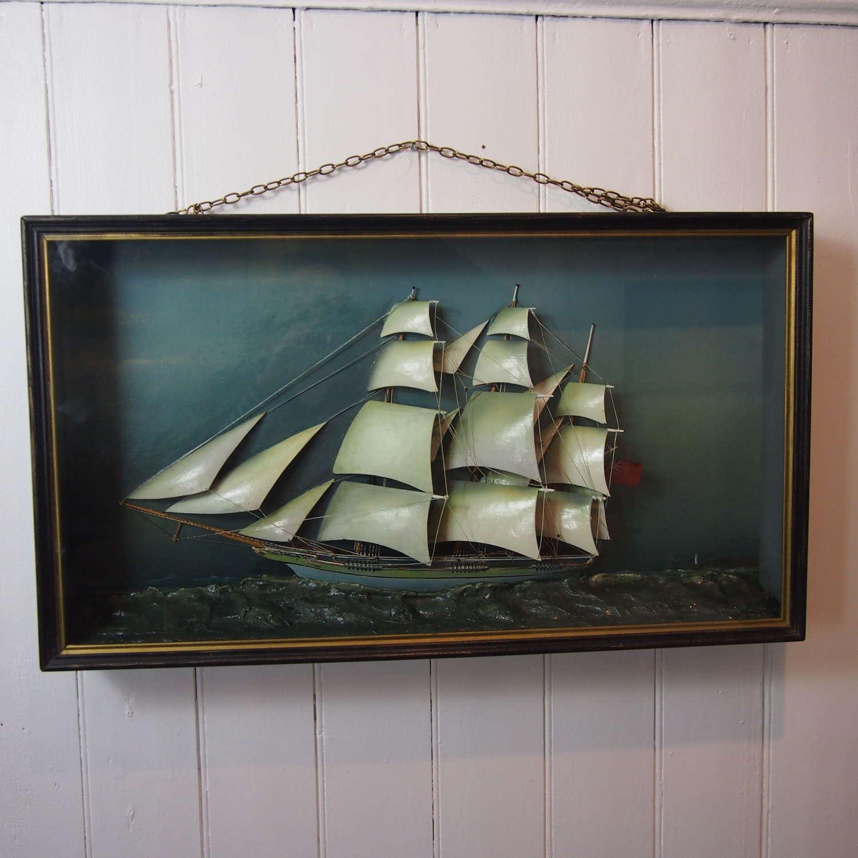 Sailing Yacht Diorama In Case C1900 W8529 .