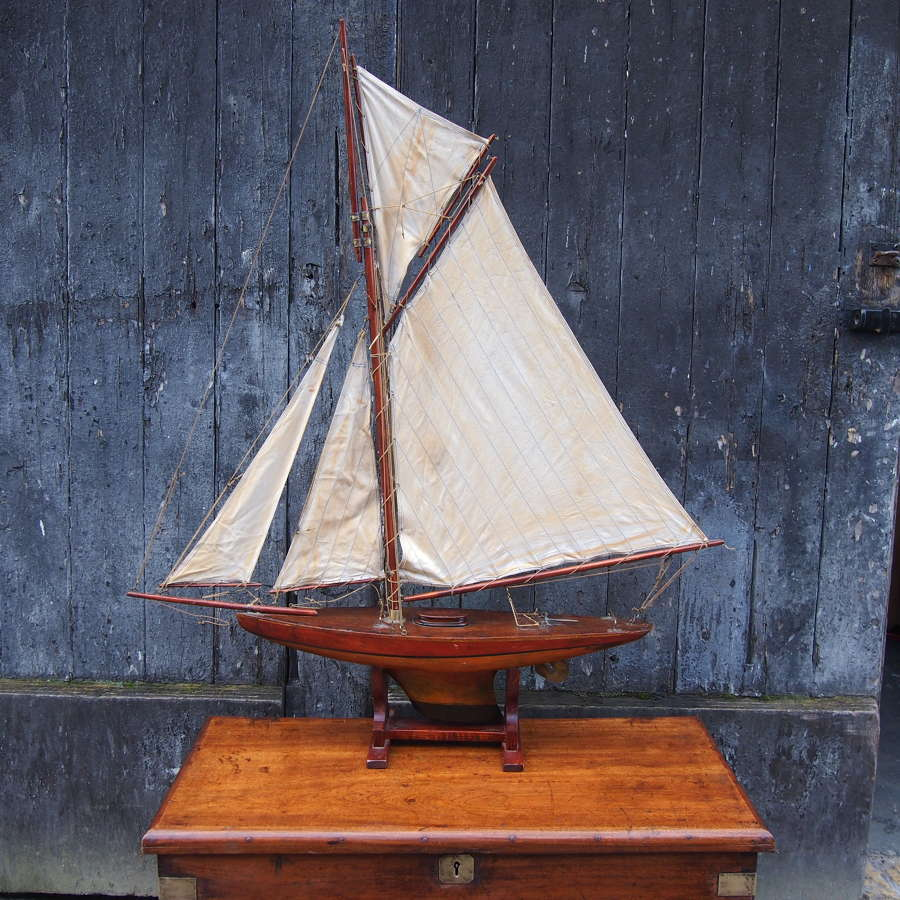 English Wood Pond Yacht on a Stand C1930s. W8532