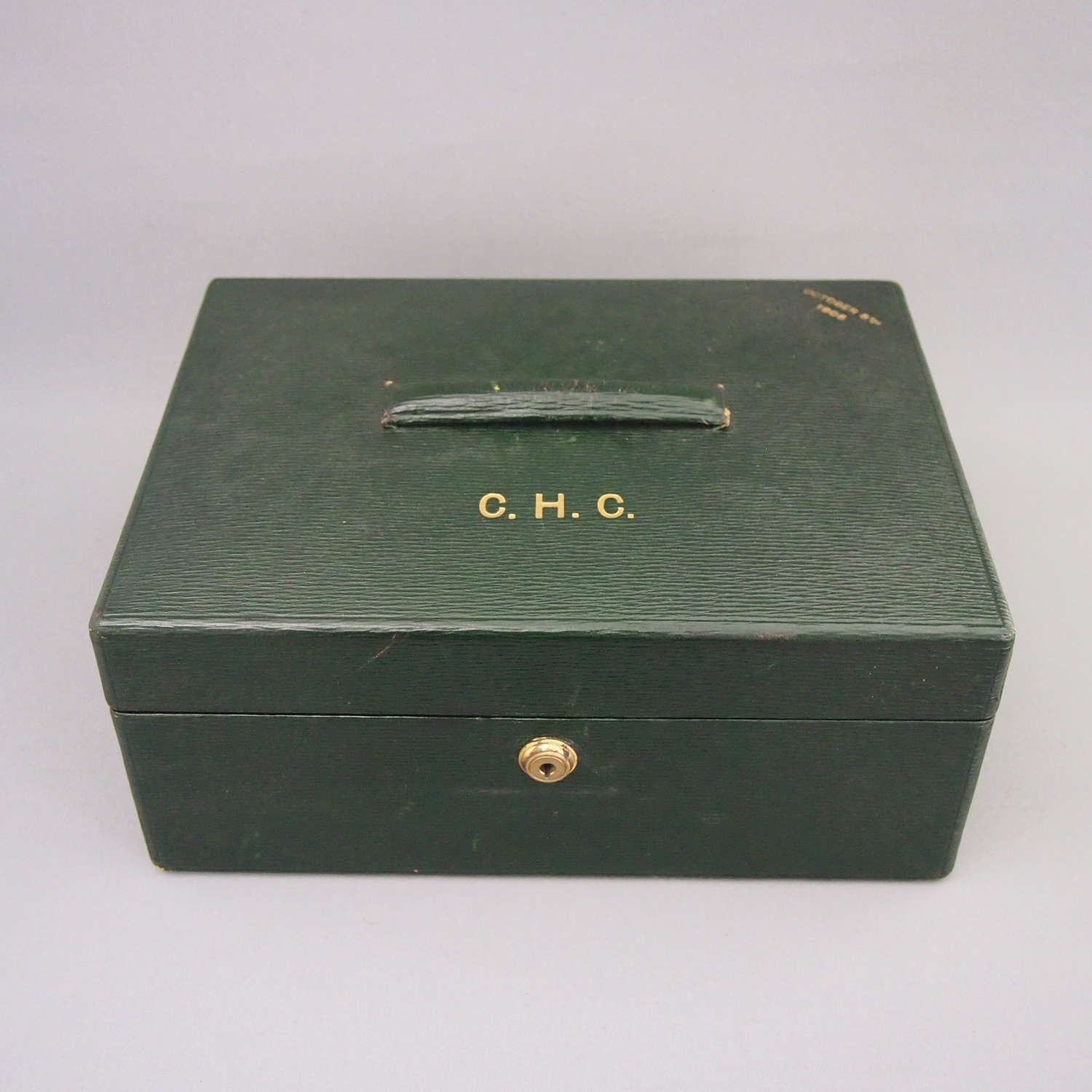 Green Leather Hide Writing Box with Fitted Interior. W8536