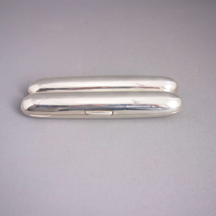 English Antique Silver Double Cigar Case dated 1902.W8537