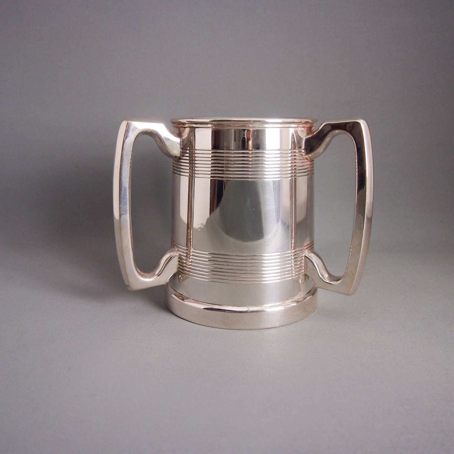 Silver Plated  Antique Three Handled Tyg Cup C1910 W8540