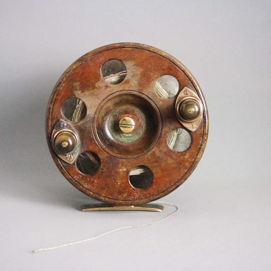 Antique Wood & Brass Sea Fishing Reel, Extra Large.W8542