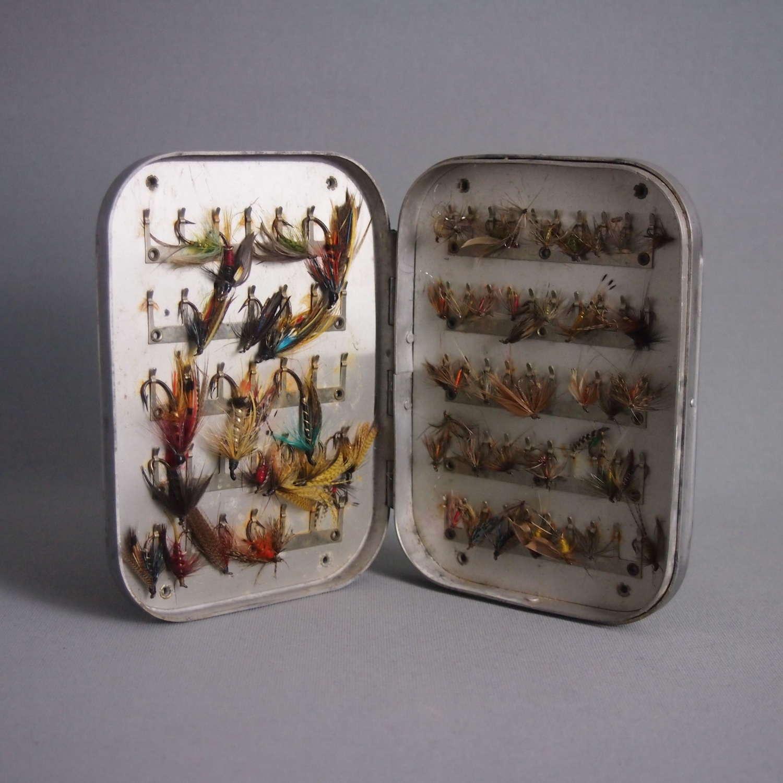 Vintage Wheatley Metal Salmon & Trout Fishing Fly Box W8543