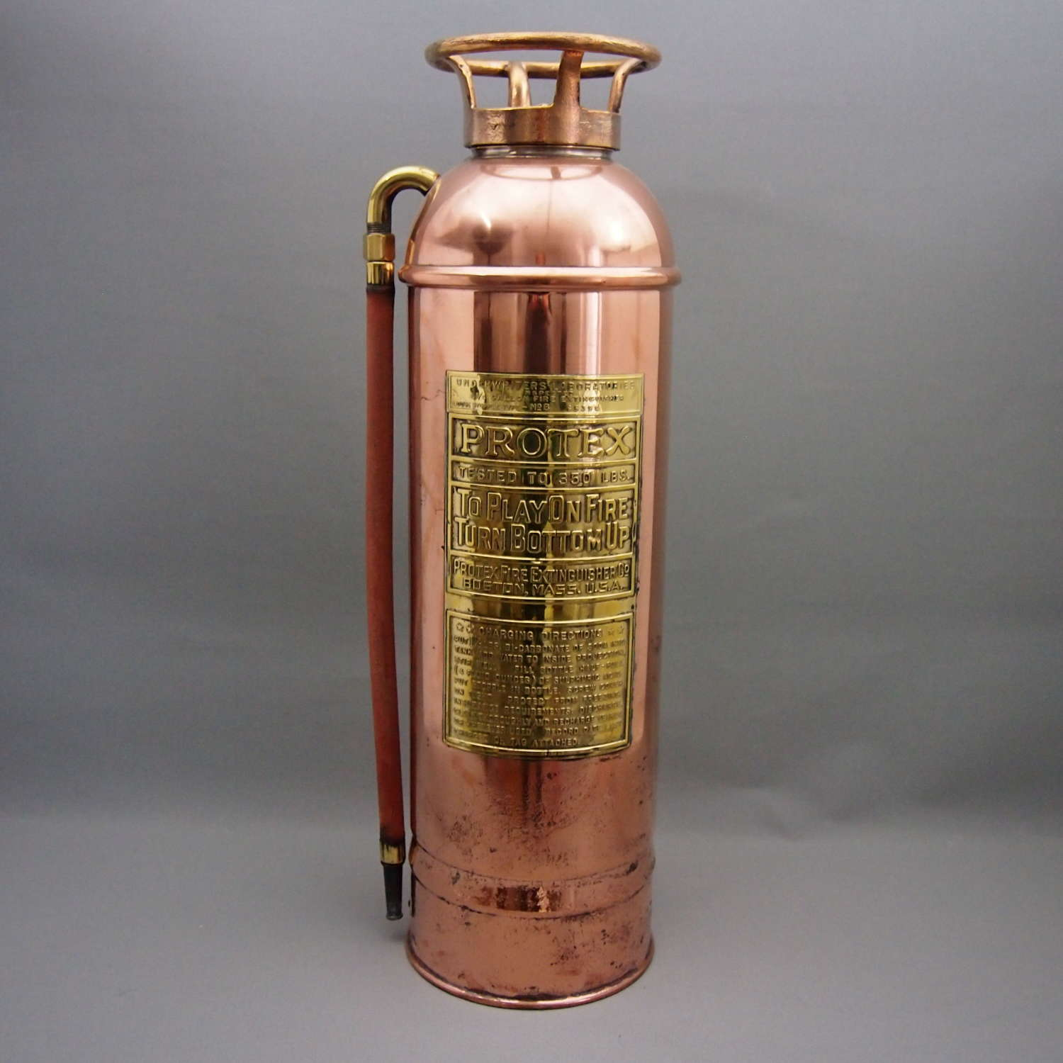Vintage brass and copper Fire Extinguisher C1940s W8548