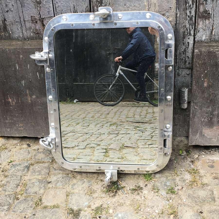 Vintage Aluminium Porthole Mirror C1950sW8549