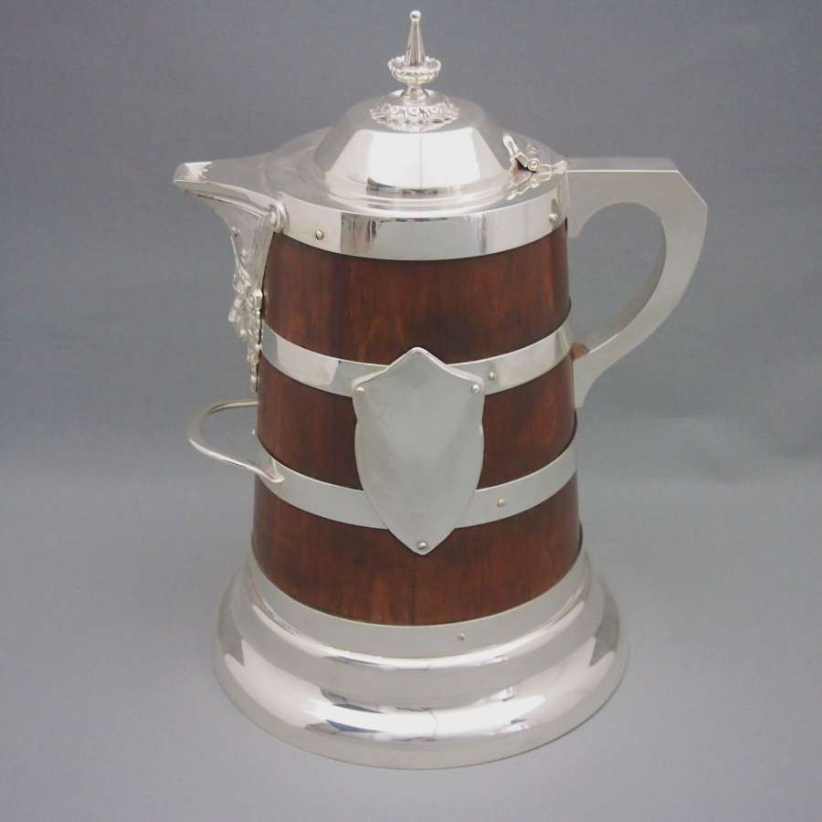 Oak & Plated Antique Extra Large Jug. W8550