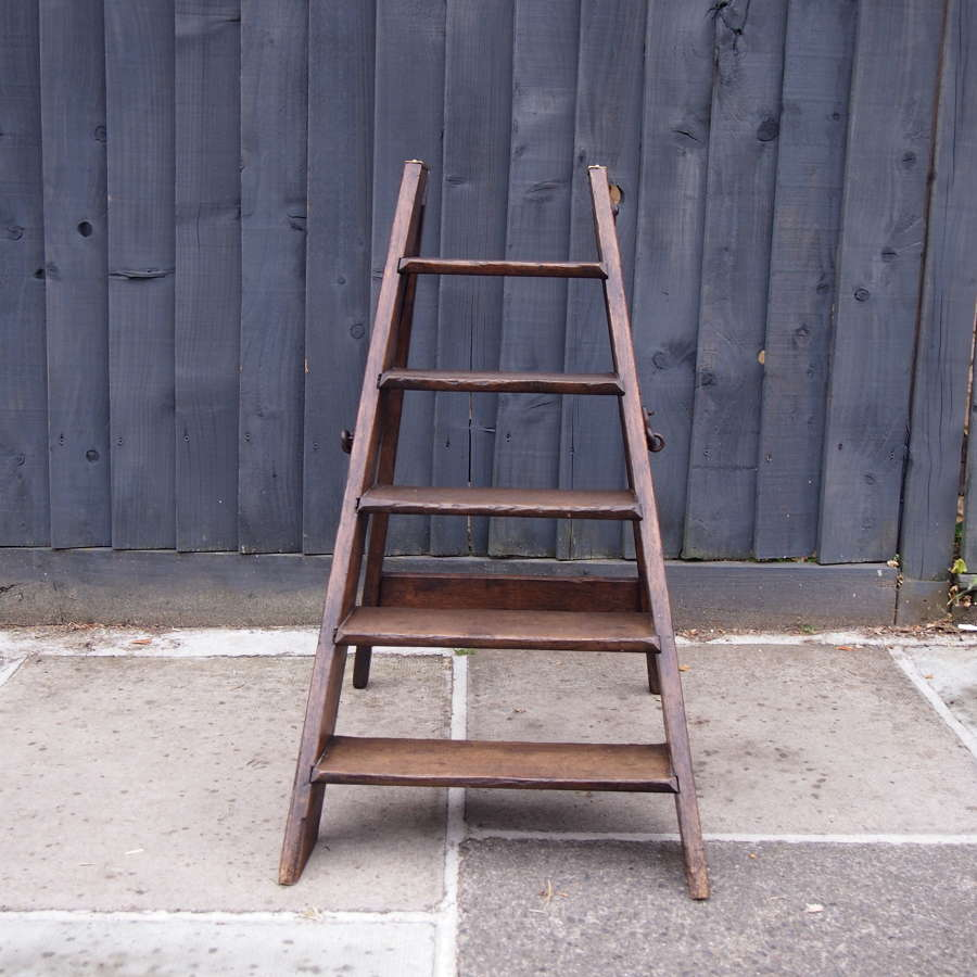 Folding Antique Mahogany Library Ladder W8556