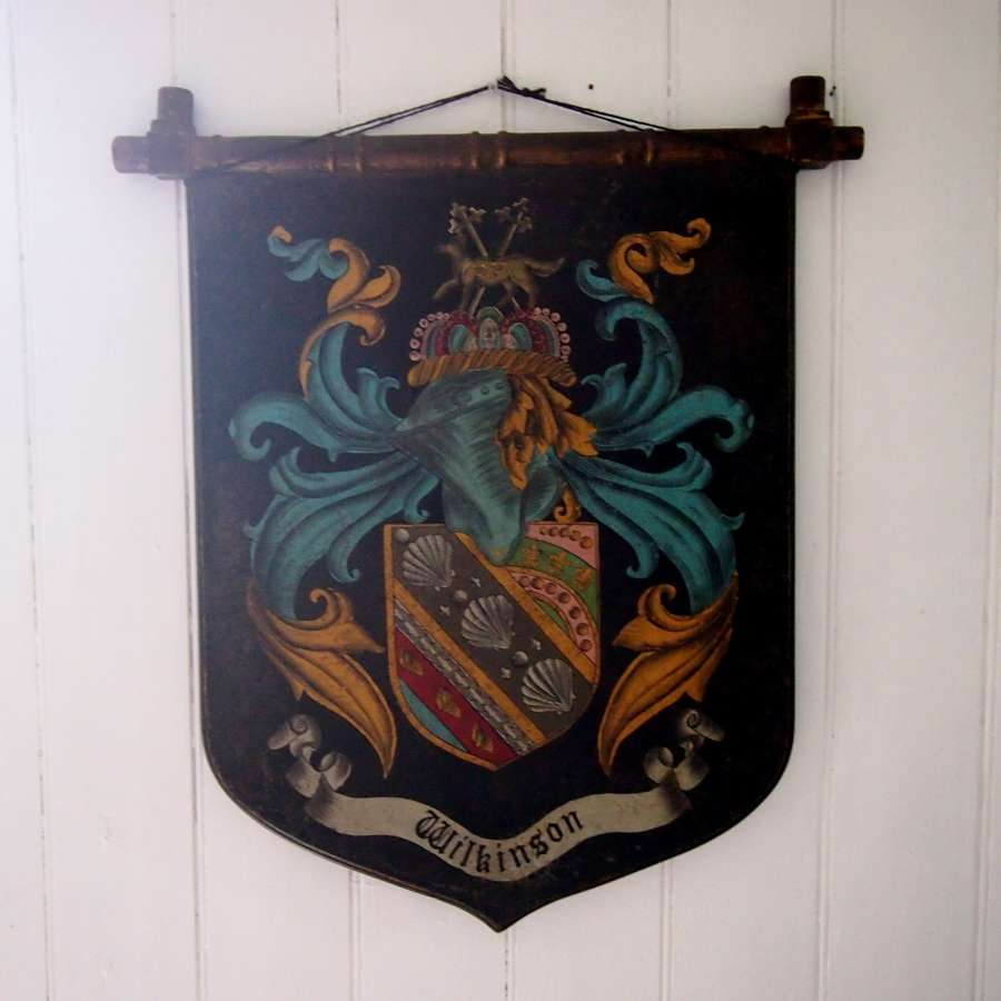 Wooden Vintage Wall Shield with Painted Crest. W8559