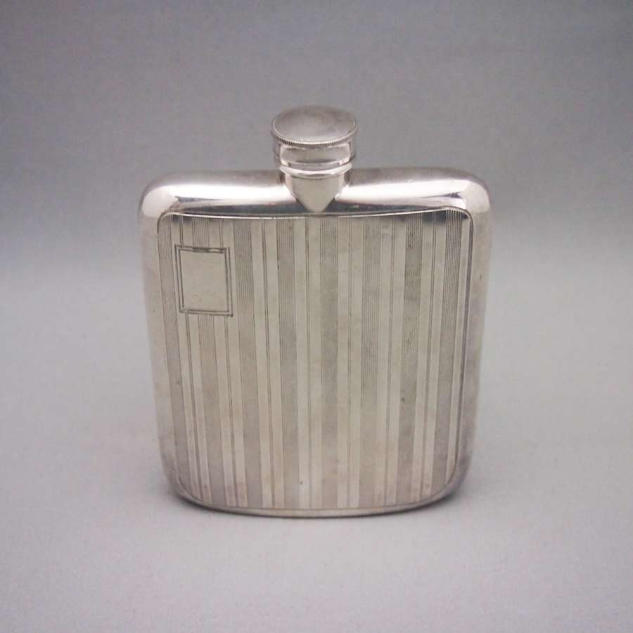 Silver Plated Striped Engine Turned Drinking Flask W8572
