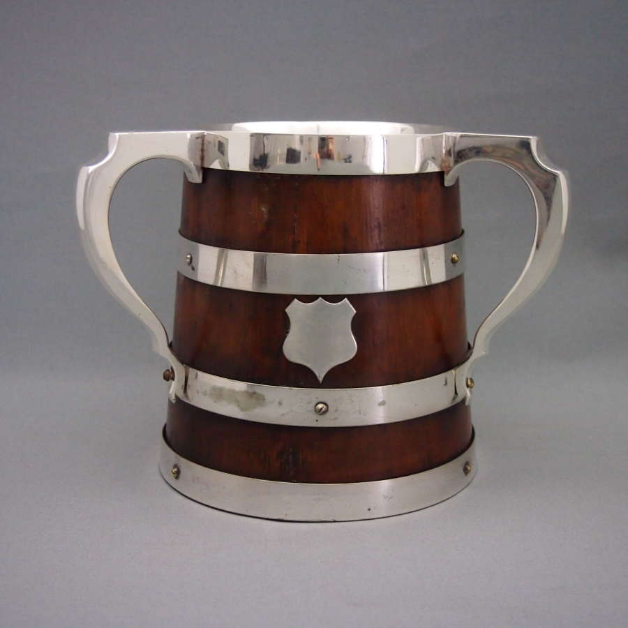 Silver Plate & Oak Three Handled Cup or Tigg W8577.