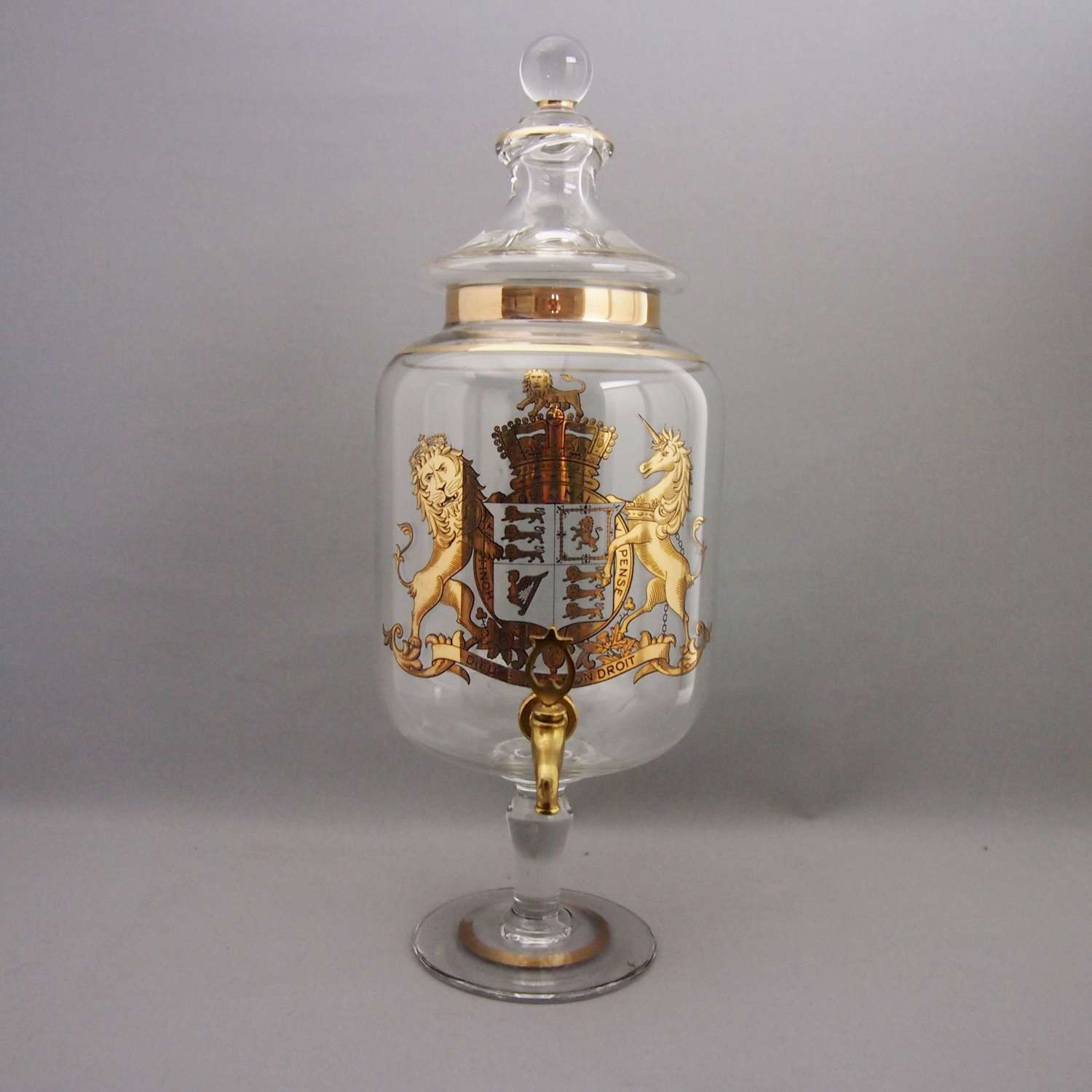 Glass Gilded Spirit Dispenser with Brass Tap W8579.
