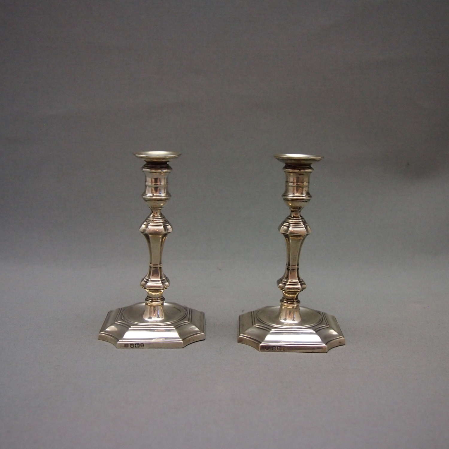 Pair of English Silver Antique Taper Candlesticks W8596