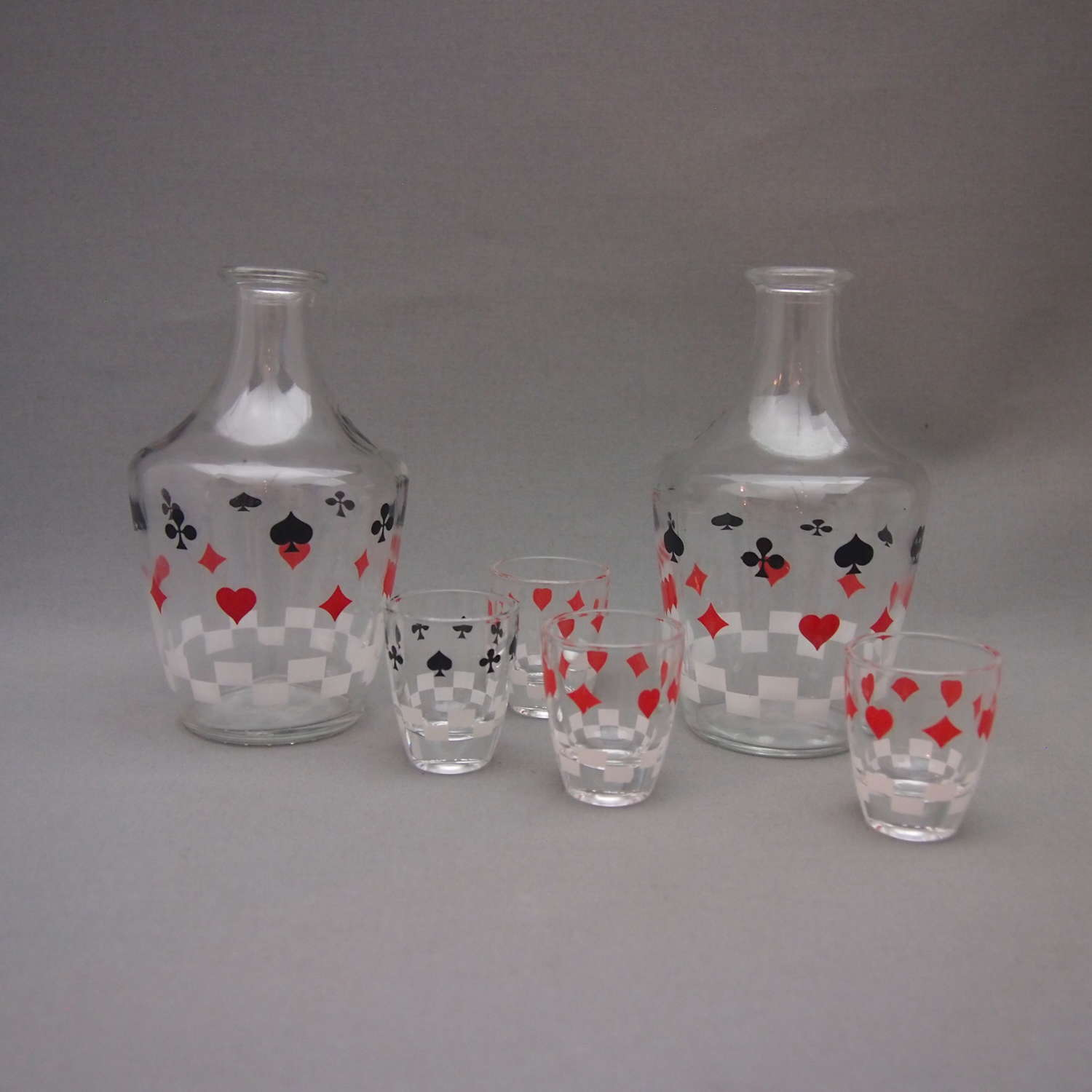 Glass Playing Card Cocktail decanter and Shot set W8598