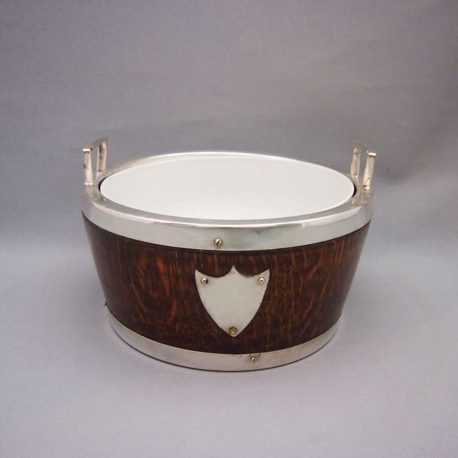 Antique Oak & Silver Plated bowl with Ceramic Liner.W8599