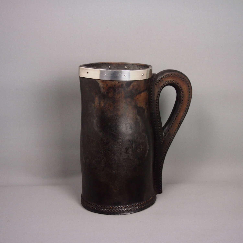 Antique Hide & Silver Banded Beer & Ale Jug . W8602
