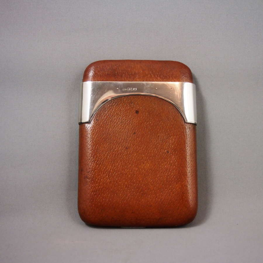 Vintage Leather and English Silver Large Cigar case. W8605