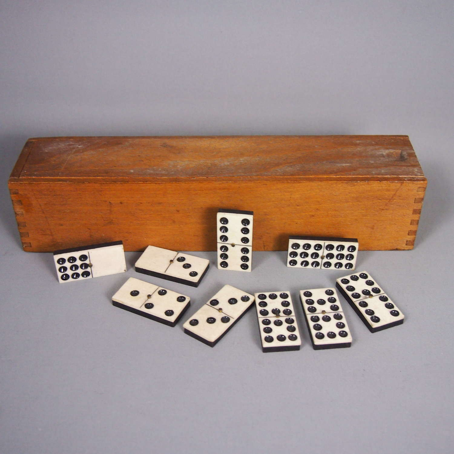 Vintage Unusual Double Nines Domino Set in Wooden Box, W8609