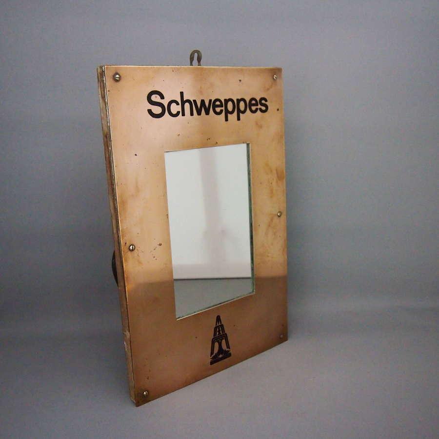 Vintage Schwepps Registered Trademark Brass Mirror.W8612