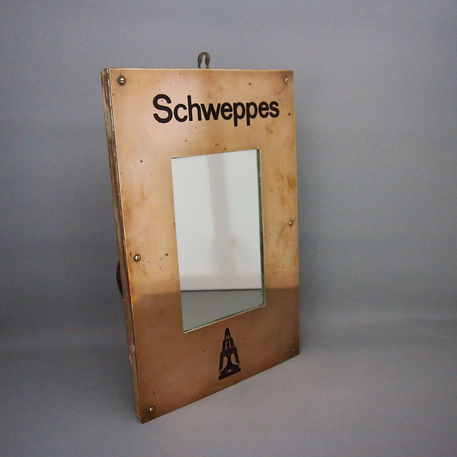 Vintage Schwepps Registered Trademark Brass Mirror.W8612