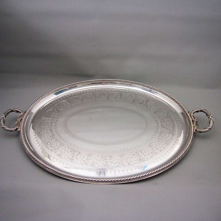 Antique Elkington Silver Plated Large Decorated Oval Tray W8613