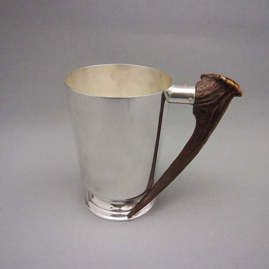 Vintage Scottish Horn & Silver Plated Mug, W8614