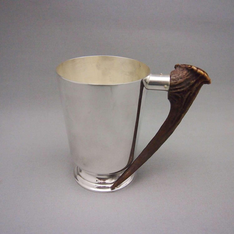 Vintage Scottish Horn & Silver Plated Mug, W8614