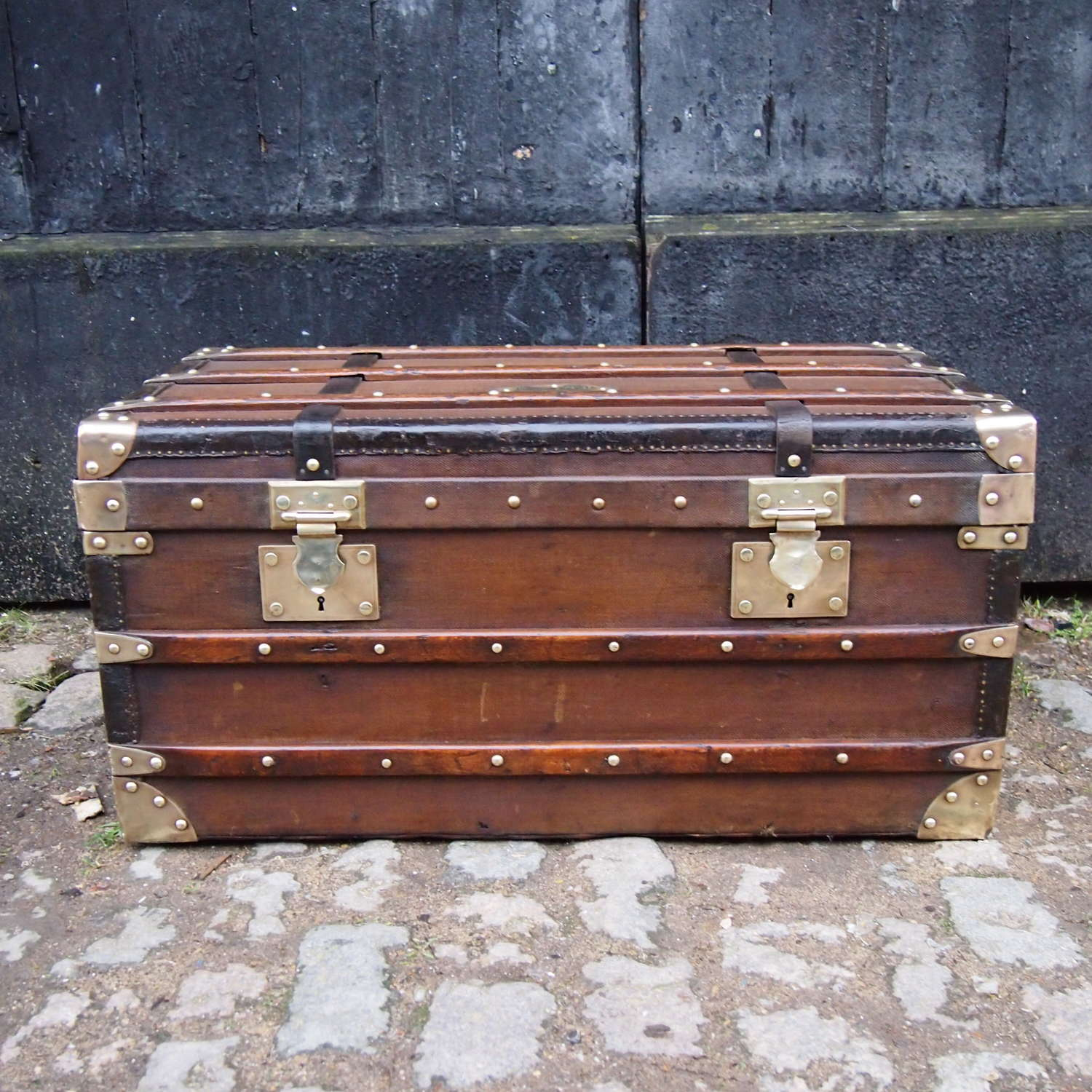 Antique French Trunk Wood banded Canvas with Brass fittings.W8619