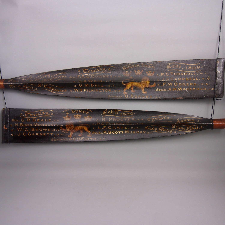 Rare Pair of Antique University Rowing Oars. W8622