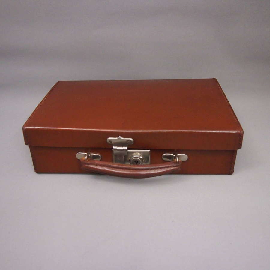 Small Vintage Hide Leather Case with Brass Locks. W8625