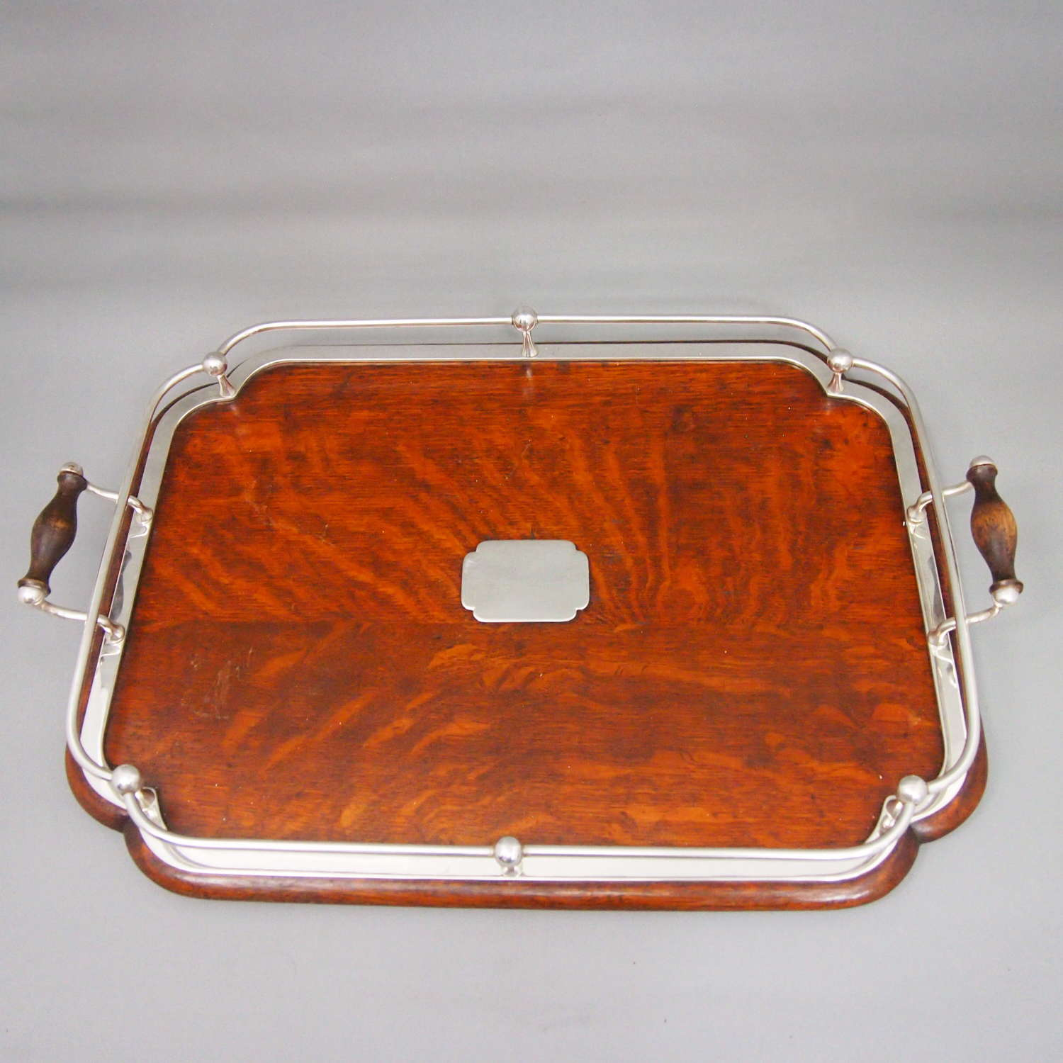 Antique oblong oak and silver plate ships style gallery tray.W8626