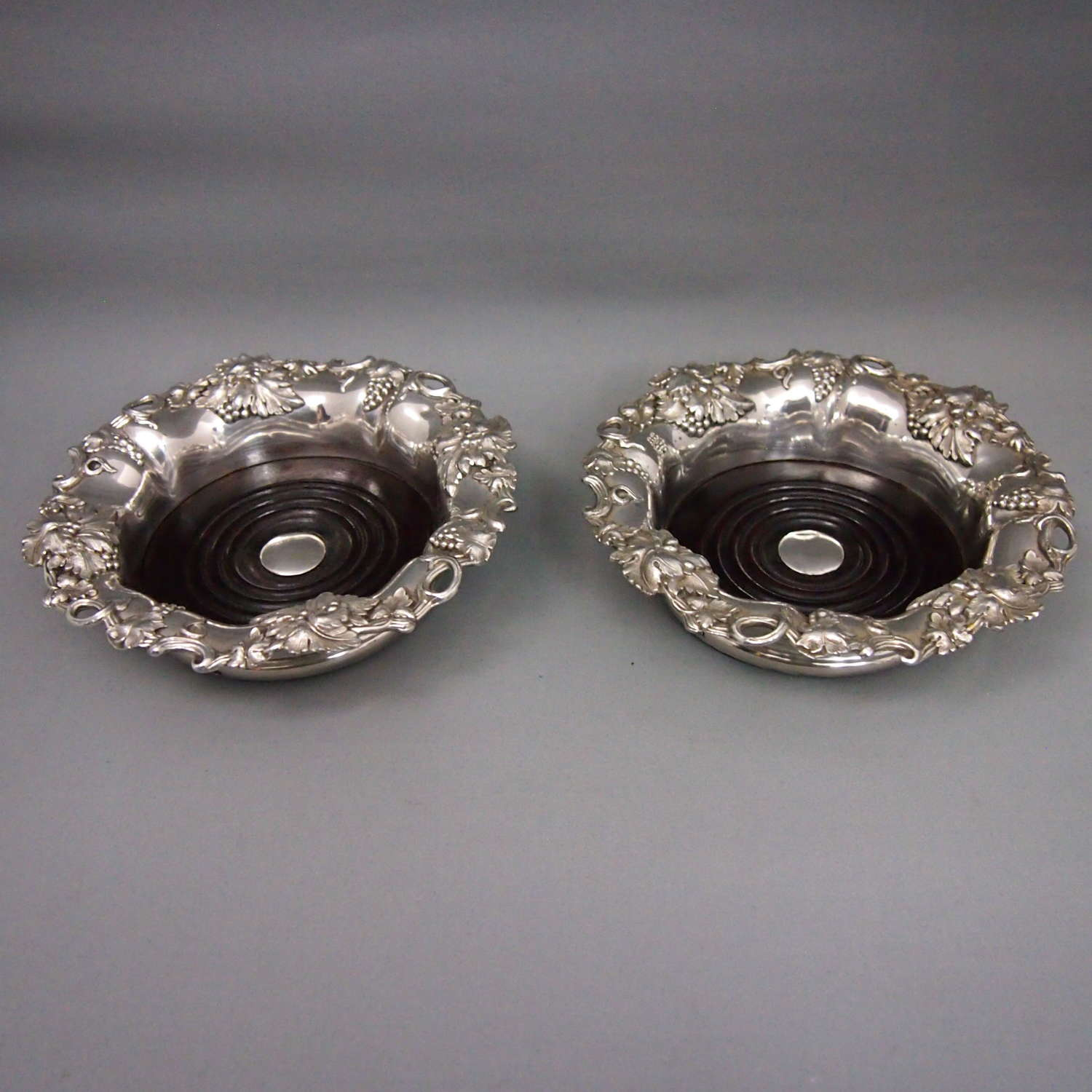Pair of Silver Plated Victorian Wine Coasters. W8627