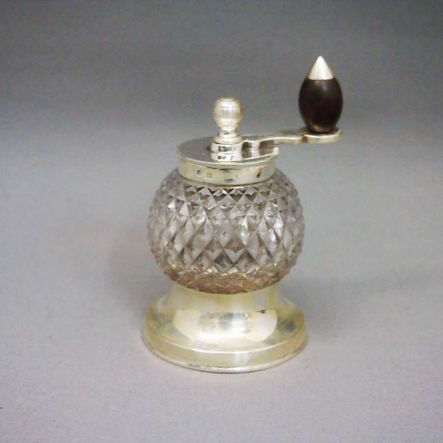 English Silver Mounted Cut Glass Pepper Grinder.W8629