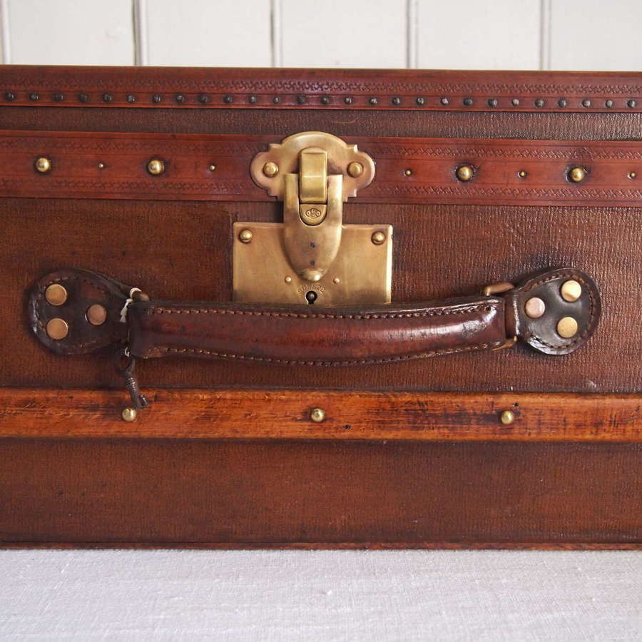 Antique French Wood banded Small trunk Case with Brass fittings C1880.