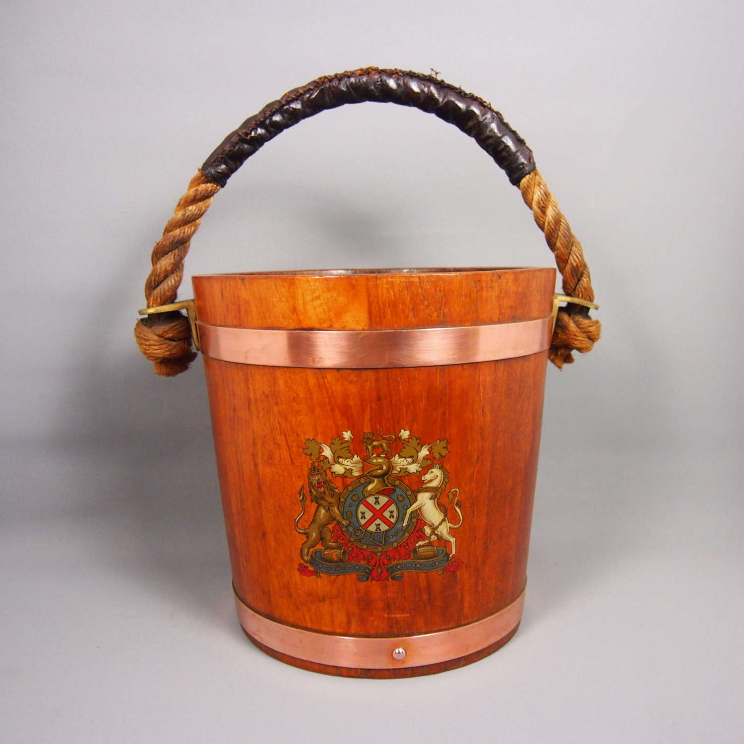 Vintage Crested Wood Fire Bucket . W8641
