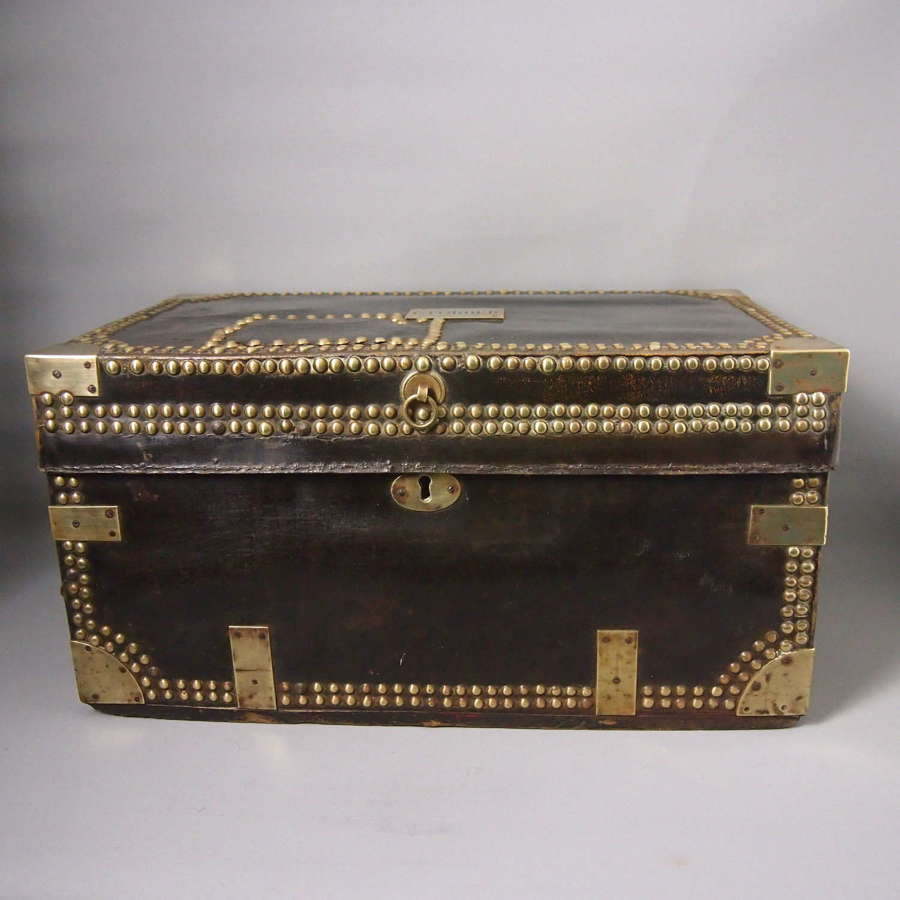 Antique Victorian Black Brown Leather Studded Travel Trunk.W8642