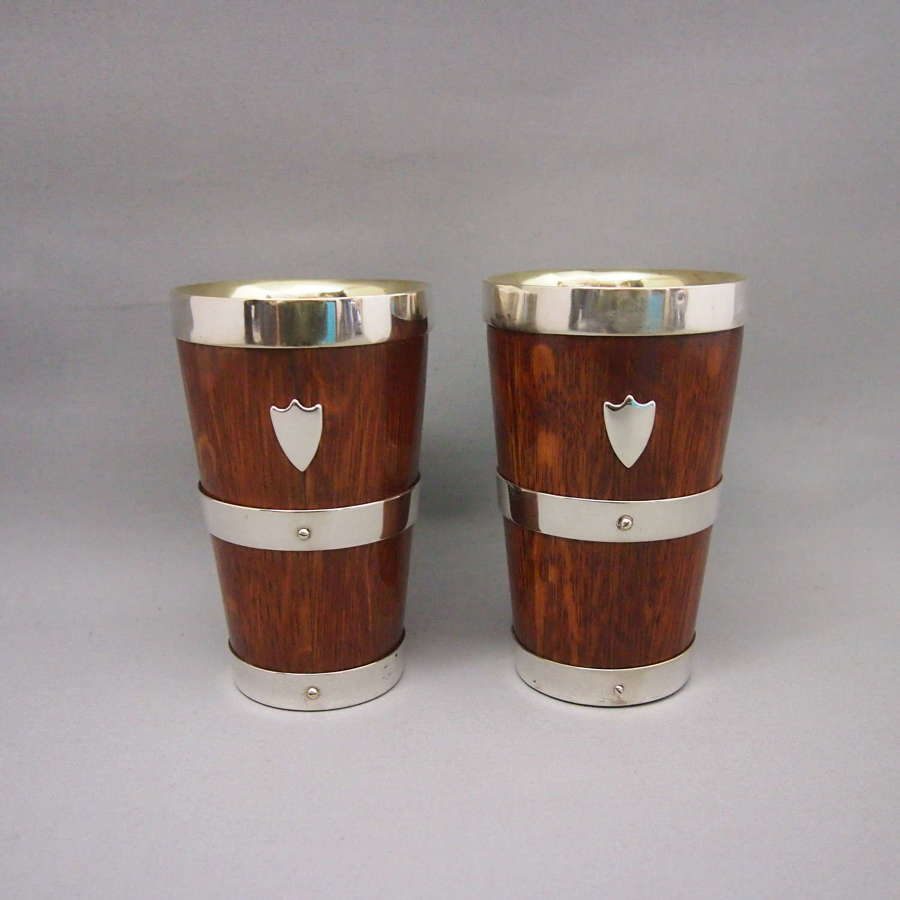 Pair of Antique Oak & Silver Plated beakers W8645