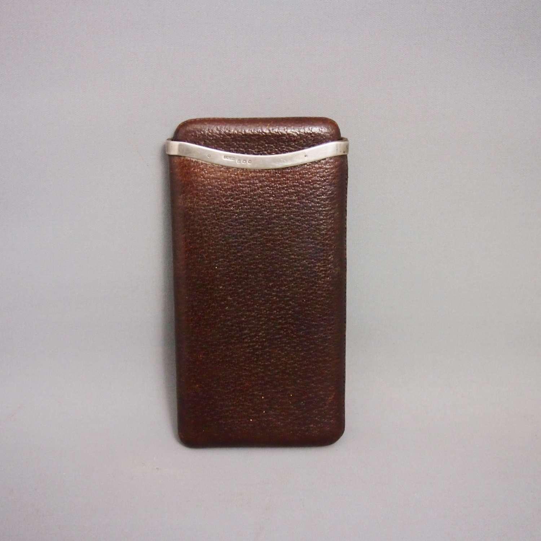 Asprey Brown Pigskin Leather Silver Banded Cigar Case. W8647