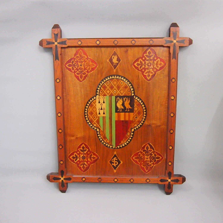 Inlaid  Coloured Wood  Decorative Crest. W8652