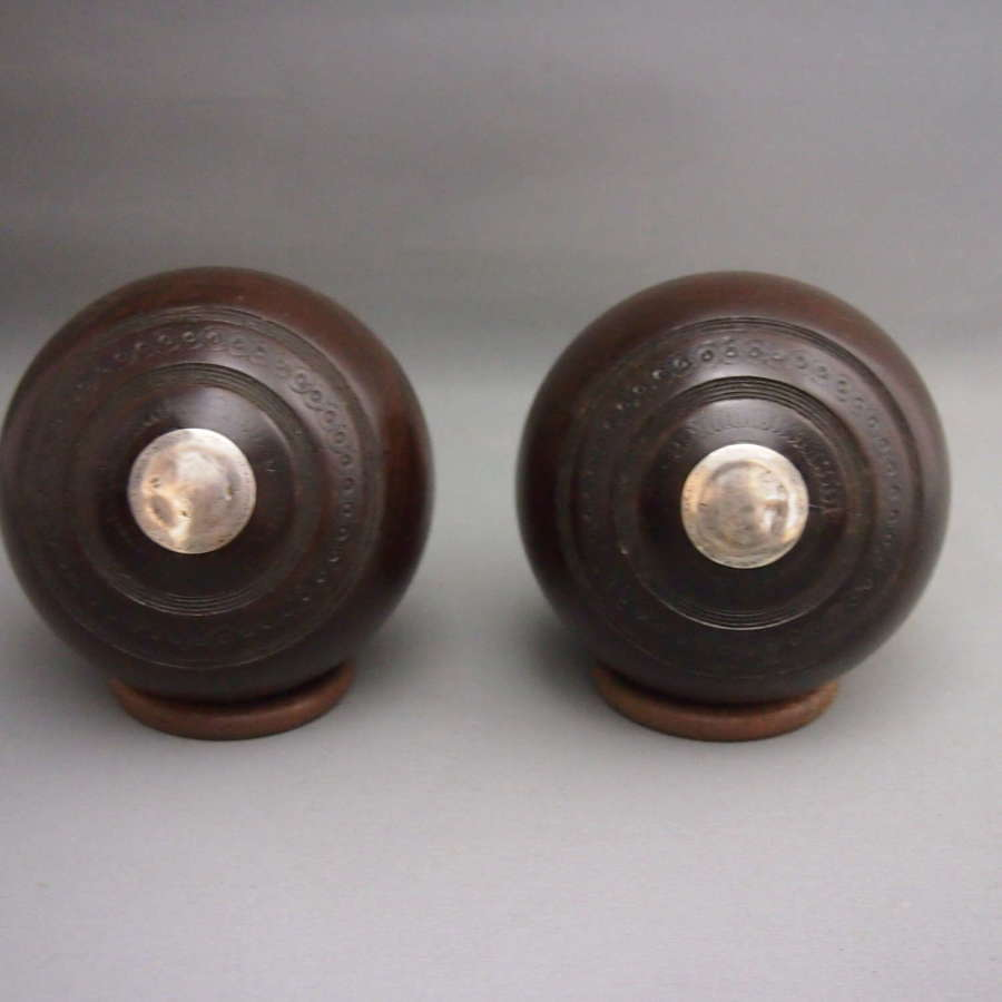Pair of Antique Wood Bowling Balls, Silver Engraved Initials.W8657