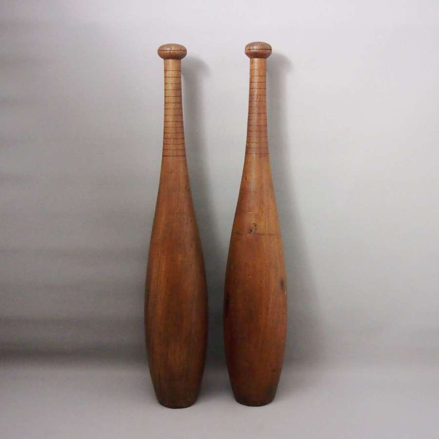 Pair of Vintage Large Wood Exercise Pins or Indian Clubs, W8658
