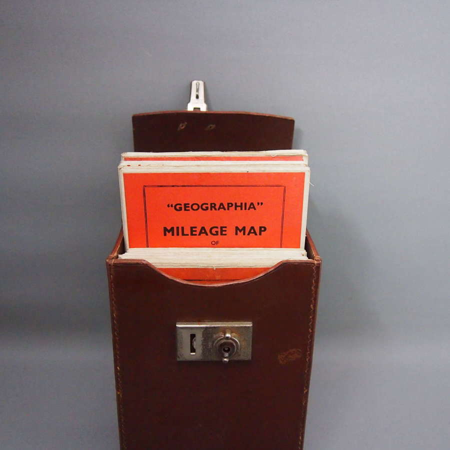 Hide Vintage Case with Original British Isles Driving Maps, W8661