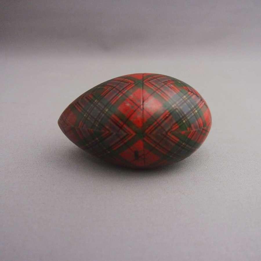 Antique Scottish Tartan Opening Wooden Egg, W8662