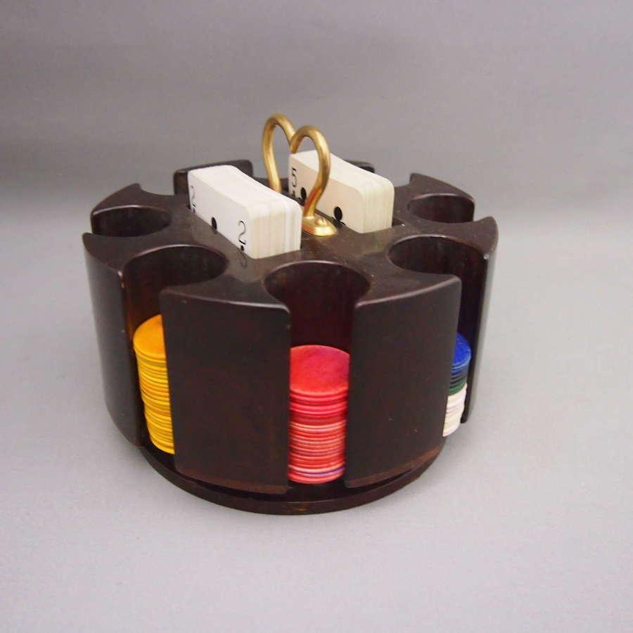 Vintage Wood Revolving Poker Chip Holder,W8663